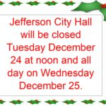 City Hall Closed for Holidays