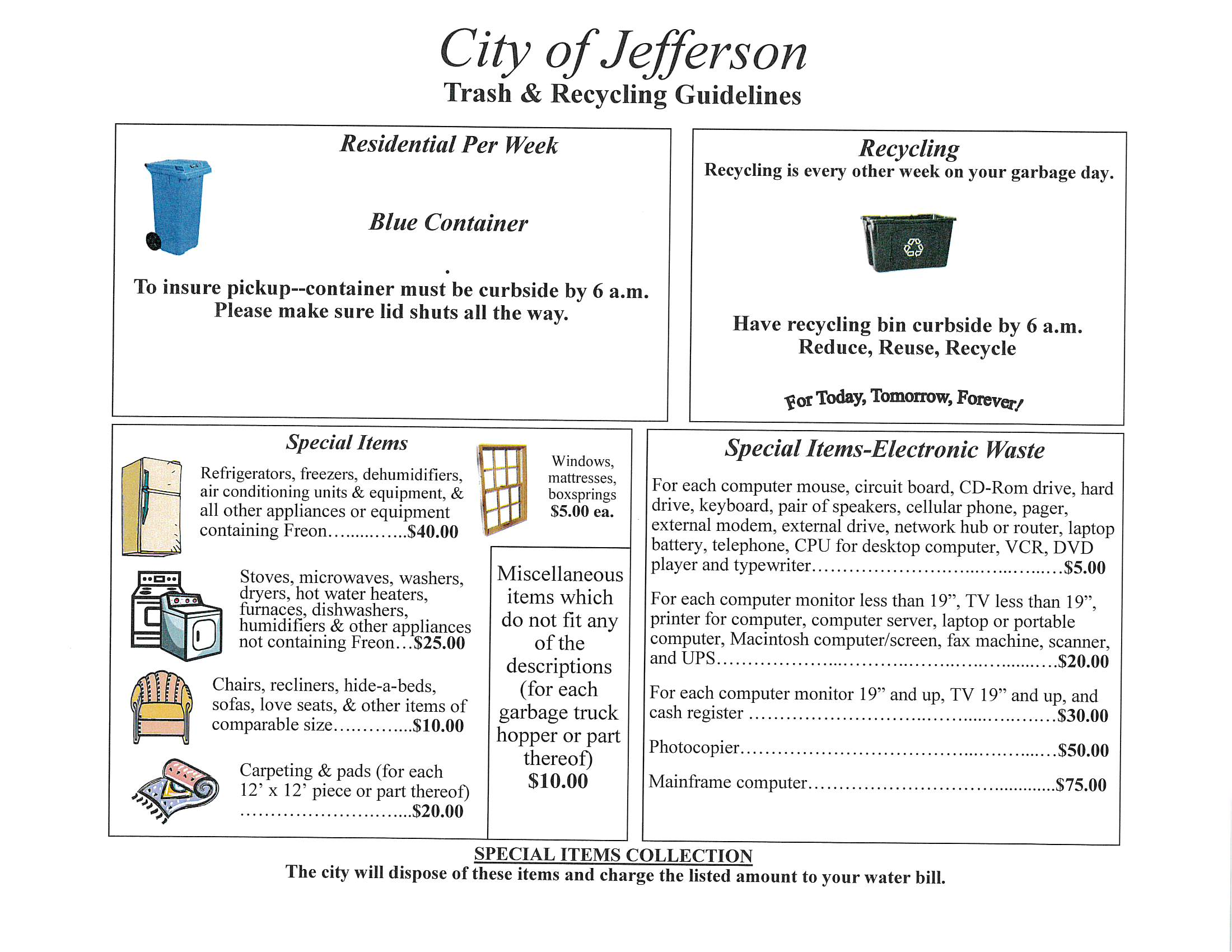 City of Jefferson Trash & Recycling Guidelines