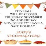 City Hall Closed for Thanksgiving